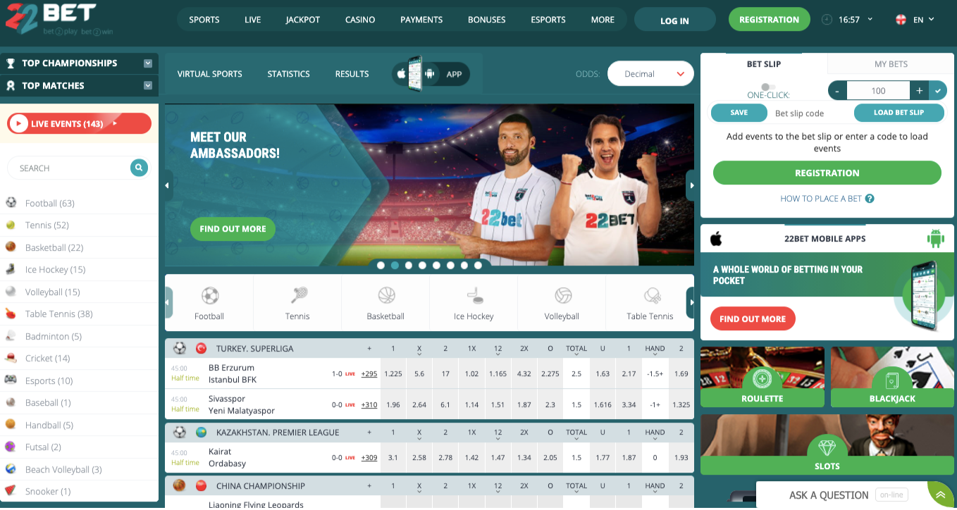 Official site 22Bet